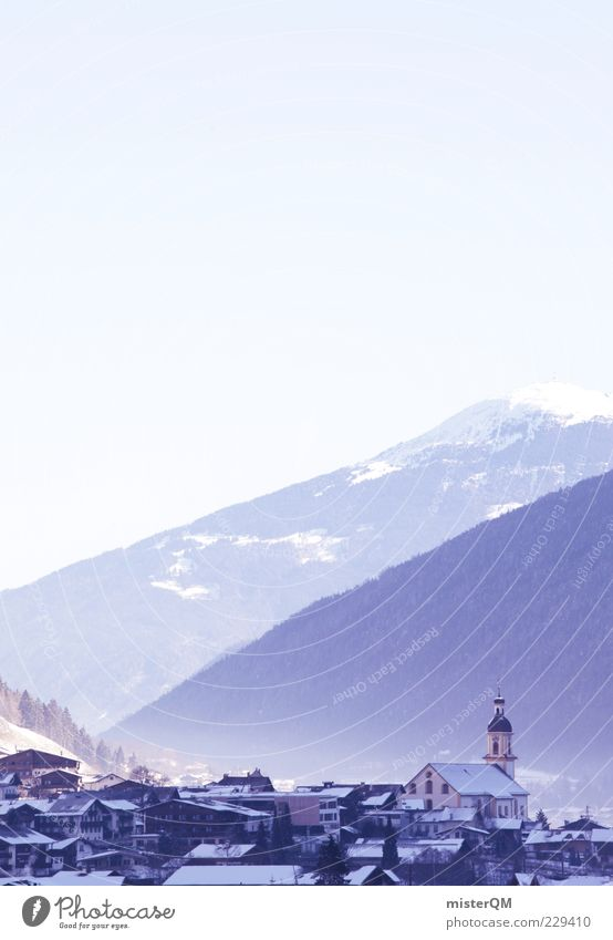 Erwachen. Stadt Winter Landschaft Berge u. Gebirge Religion & Glaube ästhetisch Kirche Dach Alpen Idylle Dorf Tal Heimat ländlich friedlich Bergkette