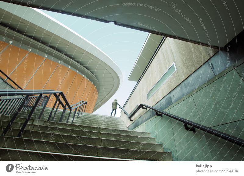 Mädchen Architektur Mensch 1 Hauptstadt Gebäude Sehenswürdigkeit Mantel stehen haus der kulturen der welt Berlin Schwangere Auster Treppe aufwärts Sightseeing