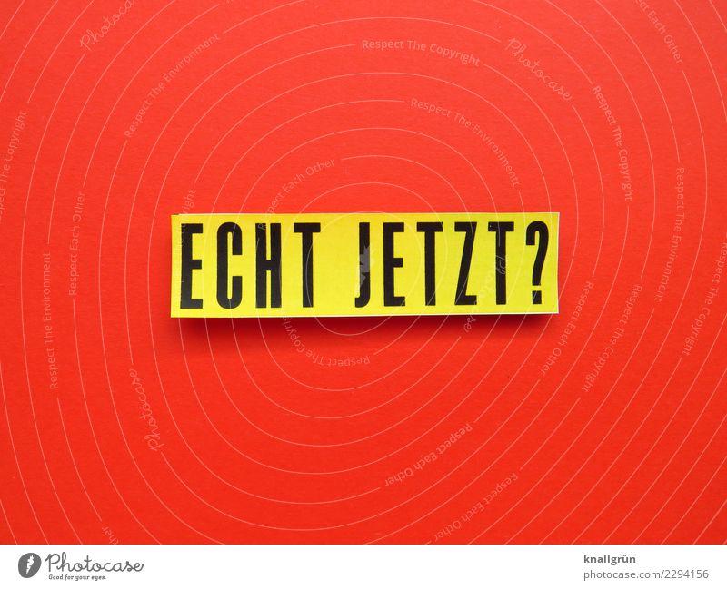 ECHT JETZT? rot schwarz gelb Gefühle Schriftzeichen Kommunizieren Schilder & Markierungen Neugier Überraschung Stress Konflikt & Streit Irritation Verzweiflung
