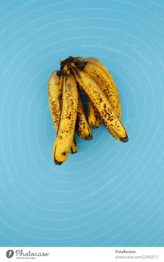 #AS# Banana Shake ? Fitness Sport-Training Essen blau gelb Banane Frucht Diät alt braun Lebensmittel verdorben reif Kunst Markt Supermarkt Farbfoto