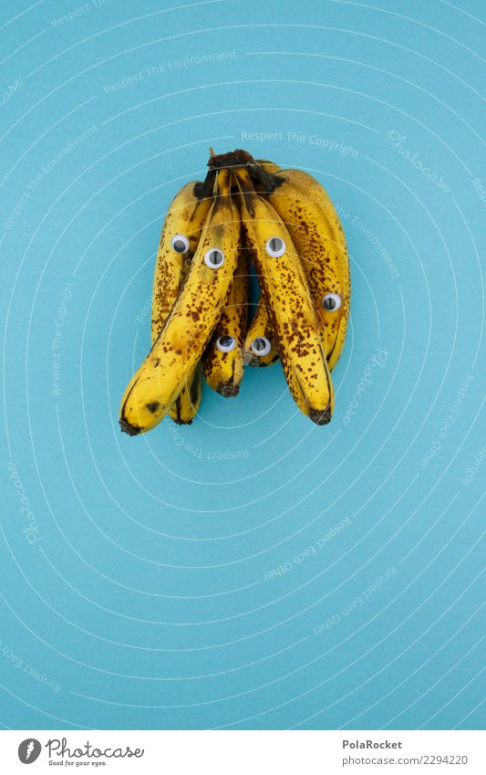 #AS# Ready to shake? kaufen Fitness Sport-Training Essen blau gelb braun schwarz Auge Banane Bananenplantage Markt Diät Milchshake Kreativität Supermarkt reif