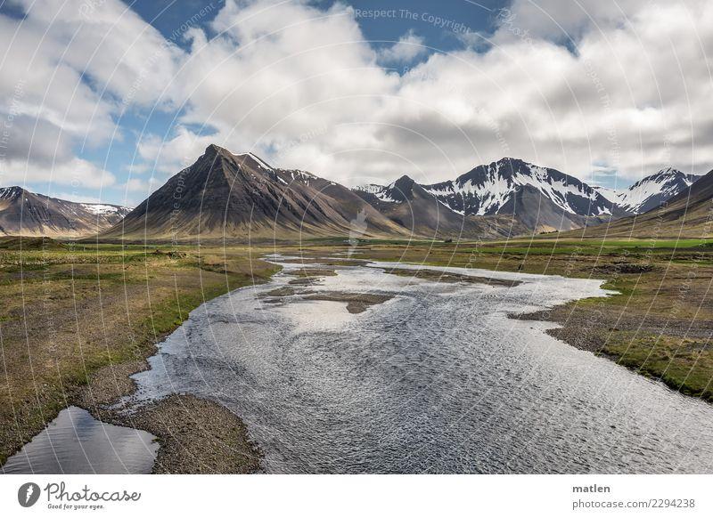 Aue Himmel Pflanze blau grün Wasser Landschaft weiß Wolken Berge u. Gebirge Frühling Küste Gras braun Felsen Horizont Luft