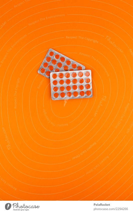 #A# Medi-Pack Kunst ästhetisch Tablette Medikament Medizintechnik Medizinmann viele orange Gesundheit Verbesserung Erkältung Vitamin Vitamin C Farbfoto