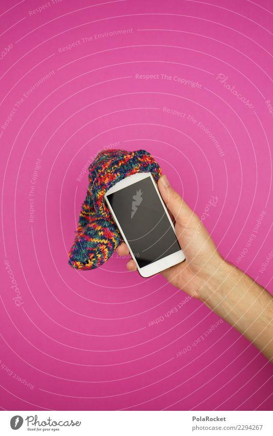 #AS# Technik Dude Handy gebrauchen rosa Kunst ästhetisch Mobilität Mobile Mobilfunk Mütze beanie Strümpfe verrückt niedlich Bildschirm Zeitverschwendung Sucht