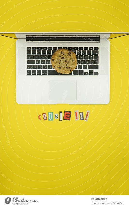 #AS# Cookie Alarm gelb Kunst Angst ästhetisch Kreativität Computer Buchstaben Sicherheit Internet Zeitung Notebook Gesetze und Verordnungen Sorge silber Keks