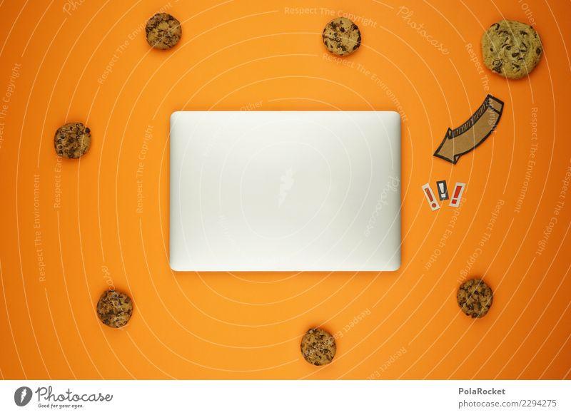#AS# Cookies Inside ? orange Angst ästhetisch Kreativität Computer Sicherheit viele Internet Pfeil Notebook Sorge silber Comic Keks Daten spionieren