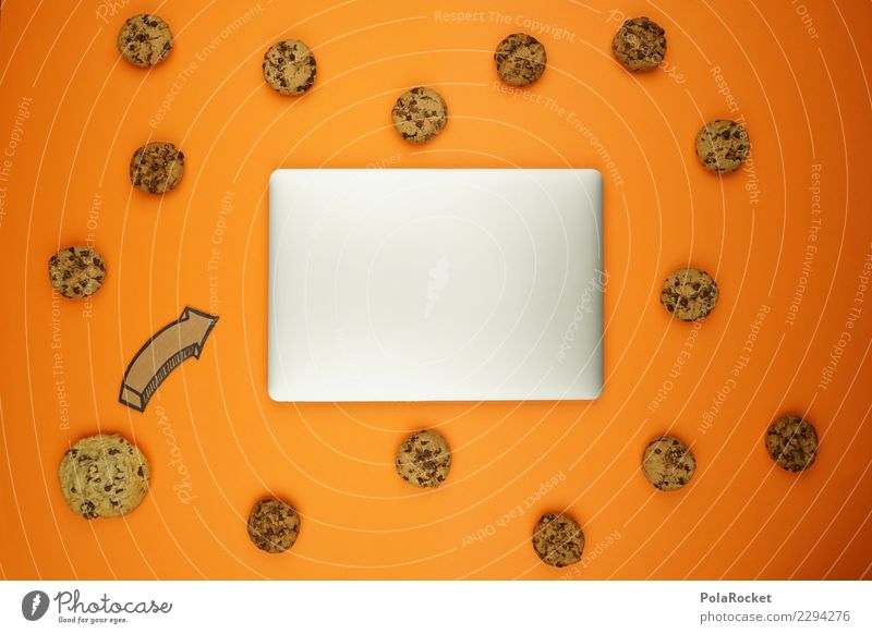 #AS# Cookie-Angriff Kunst orange ästhetisch Kreativität viele Internet Pfeil Notebook Termin & Datum Comic Keks Daten Datenschutz angriffslustig attackieren