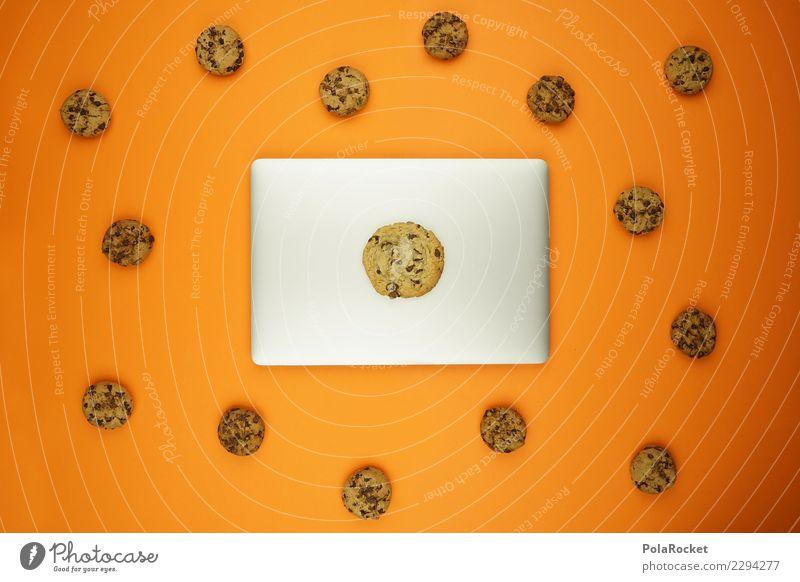 #AS# Datenschutz Cookies ? Kunst orange ästhetisch Kreativität Computer Sicherheit viele Internet Notebook Sorge Comic Keks spionieren Angriff