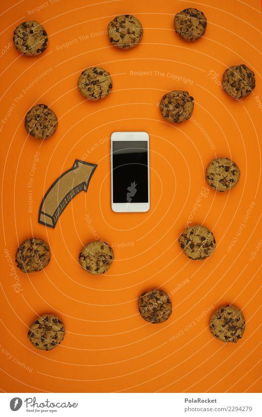 #AS# Cookies überall Handy Angst Computer cookie Pfeil orange Sicherheit spionieren Virus Angriff angriffslustig Kreativität ästhetisch Datenschutz viele Keks