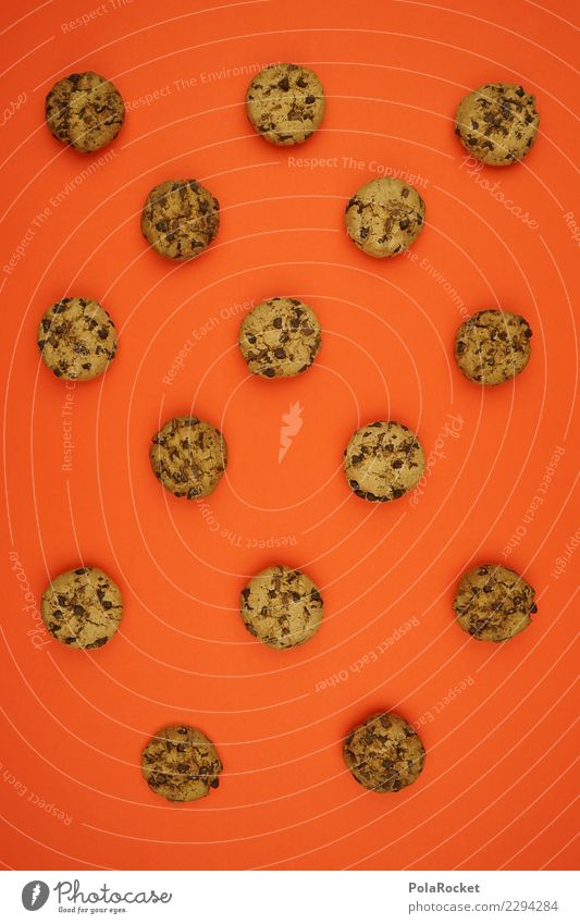 #AS# Cookie Kunst ästhetisch Cookies Keks Süßwaren lecker Backwaren viele Muster orange Schokolade Kalorienreich Farbfoto mehrfarbig Innenaufnahme