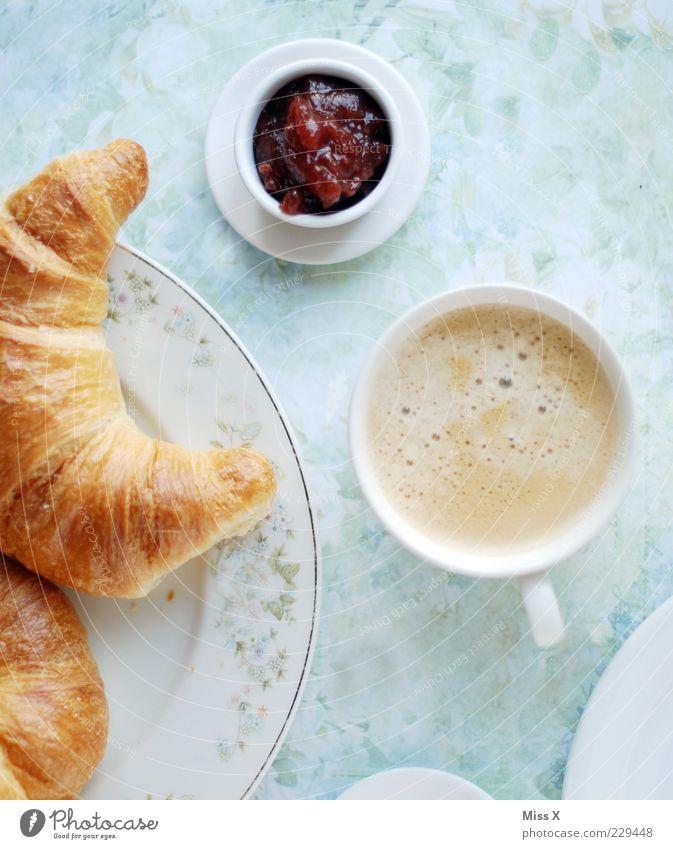Frühstück für jeden Ernährung Lebensmittel Getränk süß Pause Kaffee Tasse lecker Teller Appetit & Hunger Backwaren Teigwaren Vogelperspektive Gedeck Marmelade