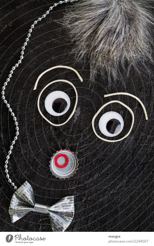 Emotionen...coole Gesichter: Collage Graukopf Mensch maskulin Mann Erwachsene Haare & Frisuren Auge 1 Fliege grauhaarig rot schwarz weiß Gefühle Stimmung Sorge