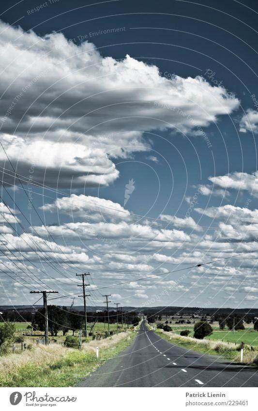 Highway to Hell Himmel Natur blau weiß schön Sommer Wolken Ferne Straße Wiese Umwelt Landschaft Freiheit Wege & Pfade Luft Wetter