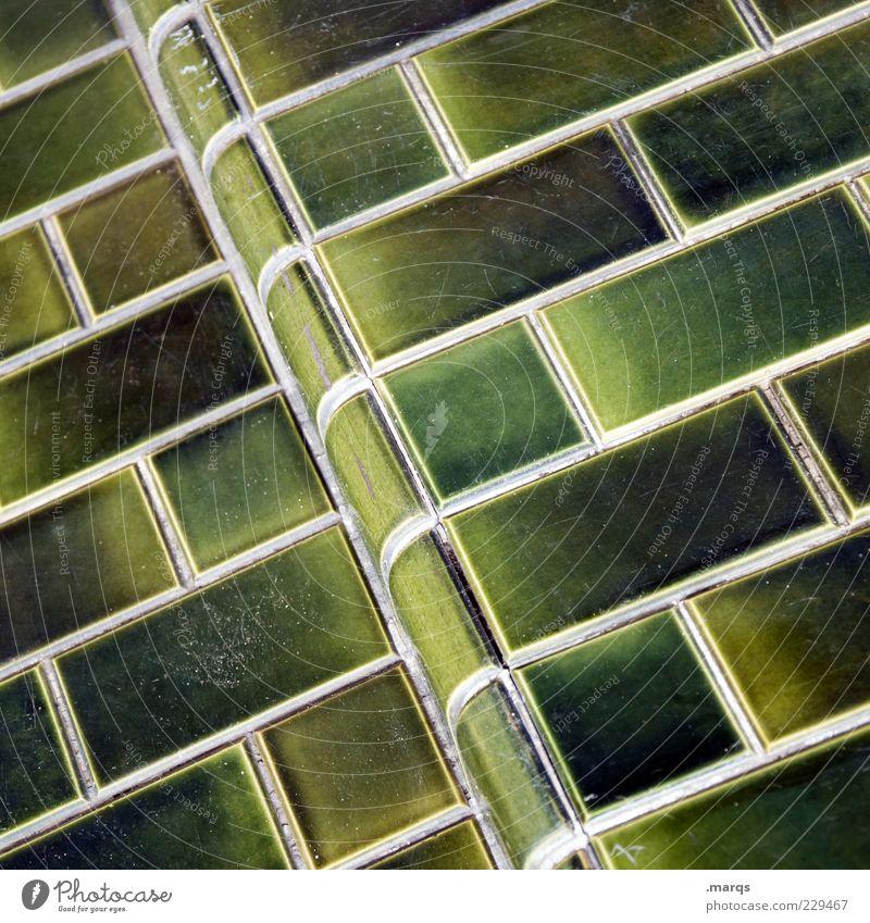 Wand grün Mauer Linie Fassade Ecke rund einfach Fliesen u. Kacheln Neigung Textfreiraum Isolierung (Material) Anordnung Mosaik Muster