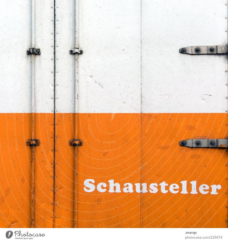Schausteller weiß Metall orange Schriftzeichen Autotür Beruf Eingang Veranstaltung Niete Beschläge Metalltür