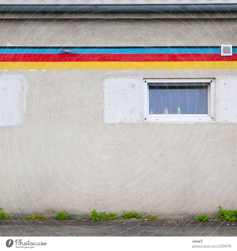Farben Schulze Wassertropfen schlechtes Wetter Regen Mauer Wand Fassade Linie Streifen alt ästhetisch authentisch klein modern oben mehrfarbig Gelassenheit