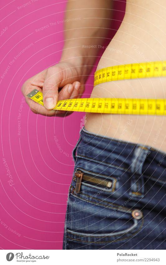 #A# Frau nach Maß Kunst ästhetisch Fitness Gesundheit sportlich Fitness-Center Fett fettarm Maßband Bauch Hüfte Diät abnehmend Jeansstoff messen Kalorie