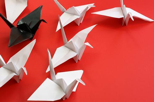 Chef Freizeit & Hobby Basteln Origami falten Tier Vogel Kranich Tiergruppe Schwarm Papier Zeichen Zusammensein nah oben viele rot schwarz weiß Partnerschaft