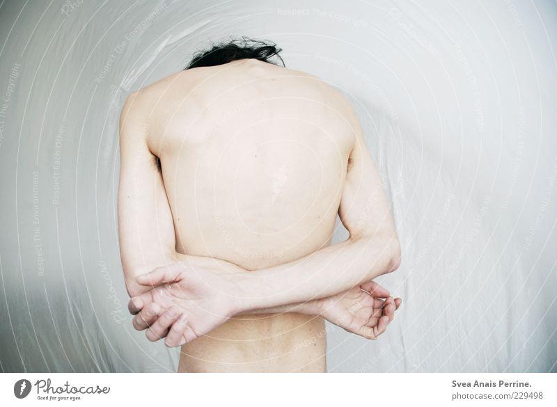 gezeichnet. maskulin Körper Haut Rücken Arme Hand 1 Mensch 18-30 Jahre Jugendliche Erwachsene stehen nackt dünn Traurigkeit Sorge Enttäuschung abstrakt Statue