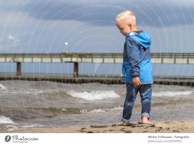 Kind am Meer Ferien & Urlaub & Reisen Tourismus Sonne Strand Wellen Mensch maskulin Junge Kindheit Kopf Haare & Frisuren Gesicht 1 3-8 Jahre Landschaft Wasser