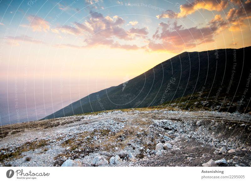 Llogara Pass Umwelt Natur Landschaft Wasser Himmel Wolken Sonne Sonnenaufgang Sonnenuntergang Sonnenlicht Sommer Wetter Schönes Wetter Wärme Pflanze Gras Hügel