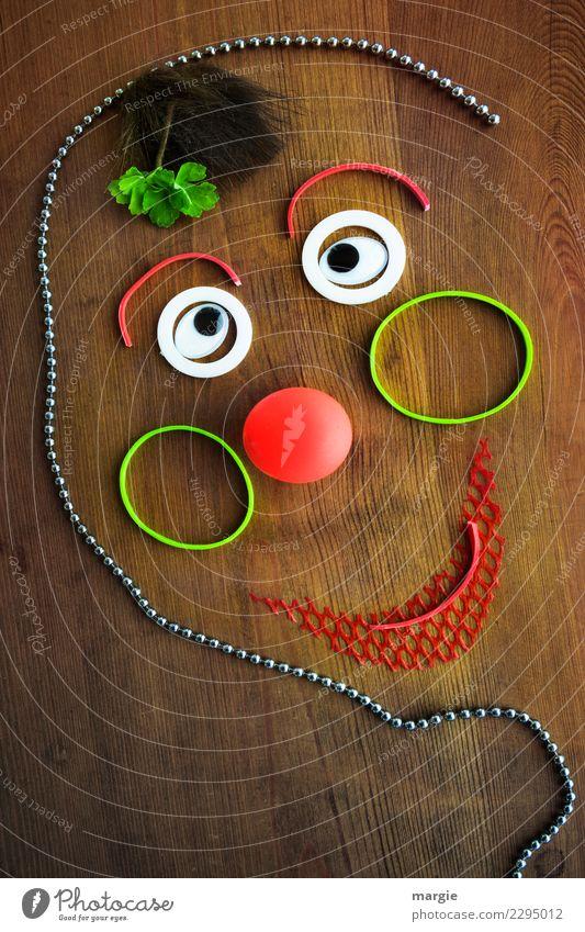 Emotionen...coole Gesichter: lustiger Clown Mensch grün rot feminin braun maskulin androgyn