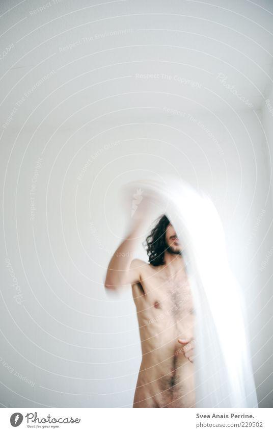 aktion. Mensch Jugendliche Erwachsene kalt Spielen nackt Haare & Frisuren Bewegung Tanzen Körper Haut maskulin dünn 18-30 Jahre Locken Lebensfreude