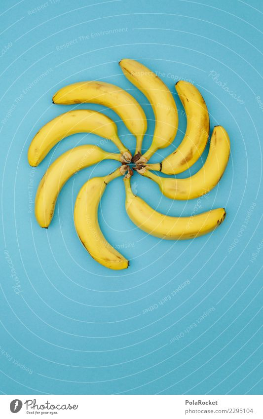 #AS# Banarodeo blau gelb Kunst Frucht ästhetisch Kreativität Kunstwerk Vitamin Banane Bananenstaude Wasserwirbel vitaminreich Hochkonjunktur Bananenschale