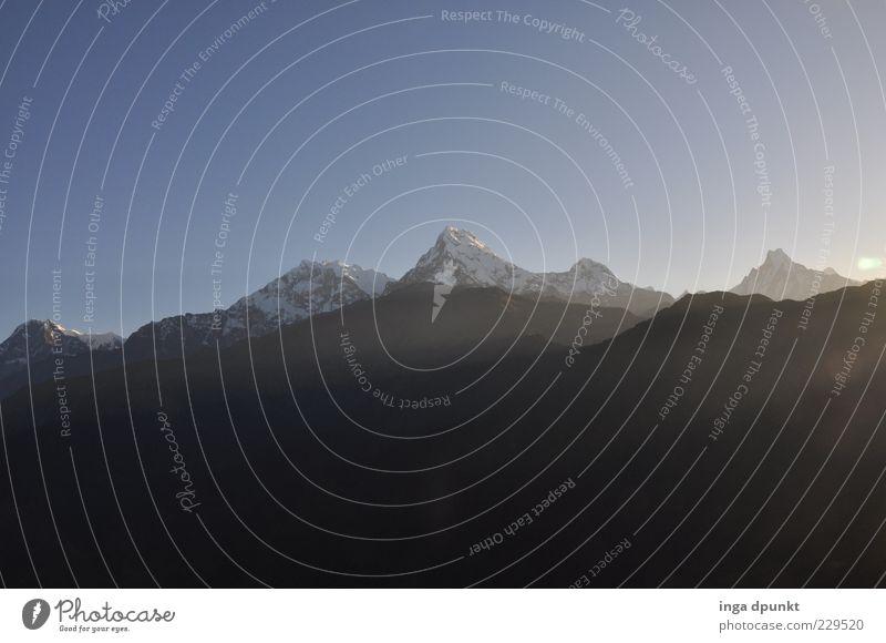Annapurna Ferien & Urlaub & Reisen Tourismus Ferne Freiheit Schnee Berge u. Gebirge Natur Landschaft Wolkenloser Himmel Klima Schönes Wetter Gipfel
