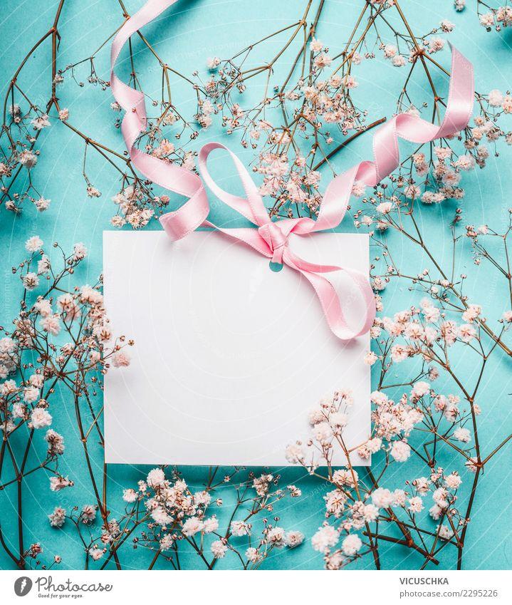 Grußkarte mock up mit Schleife und Blumen Stil Design Feste & Feiern Valentinstag Muttertag Hochzeit Geburtstag Blüte Dekoration & Verzierung Blumenstrauß