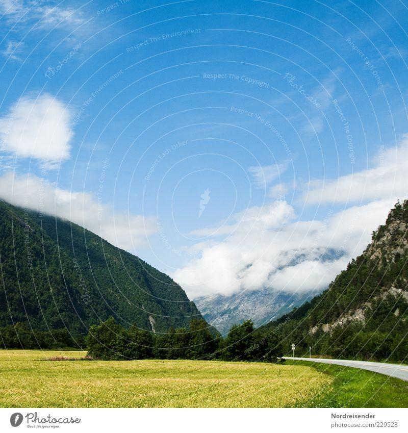 Anhalten Himmel Natur Ferien & Urlaub & Reisen Sommer Wolken Ferne Straße Landschaft Berge u. Gebirge Feld Felsen Ausflug Tourismus ästhetisch Klima