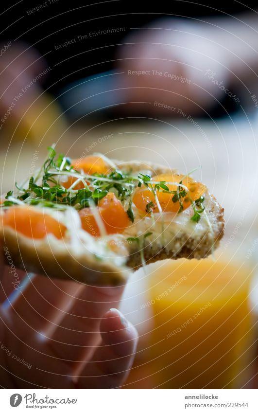 Frühstück Lebensmittel Brot Brötchen Kresse Tomate Frischkäse Belegtes Brot Ernährung Bioprodukte Vegetarische Ernährung Hand Finger frisch Gesundheit lecker