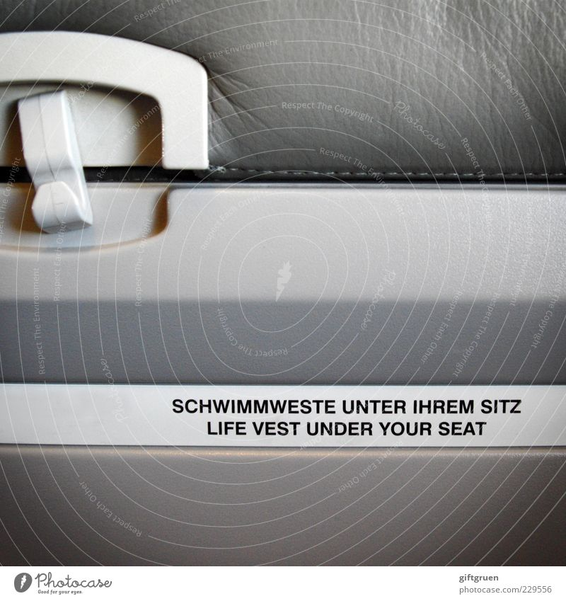 don't inflate your vest while inside the aircraft grau Flugzeug Schriftzeichen Sicherheit Buchstaben Hinweisschild Schutz Kunststoff Information Fluggerät
