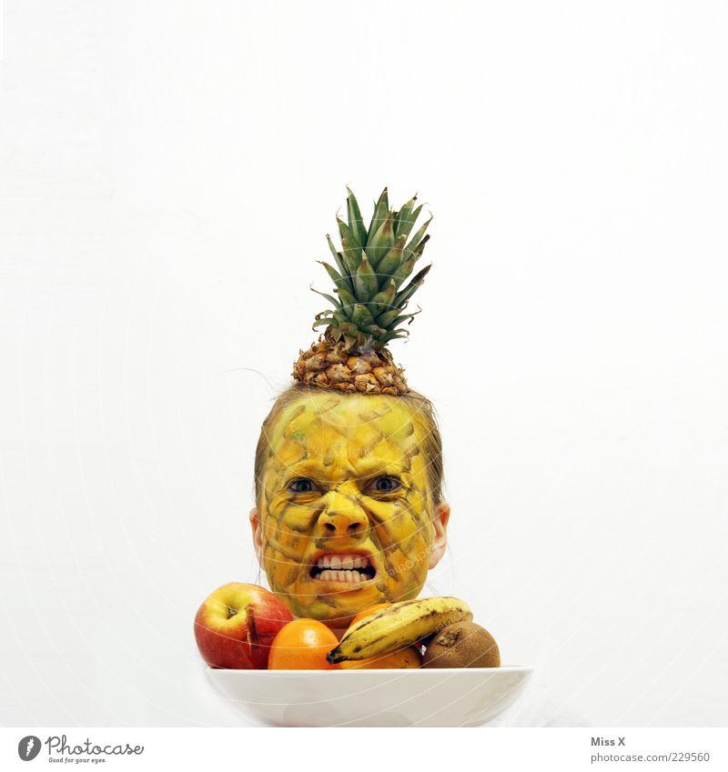 Aggronas Lebensmittel Frucht Ernährung Teller Mensch Junge Frau Jugendliche Erwachsene Kopf 1 18-30 Jahre Aggression lustig nerdig Wut Ärger Hass Ananas