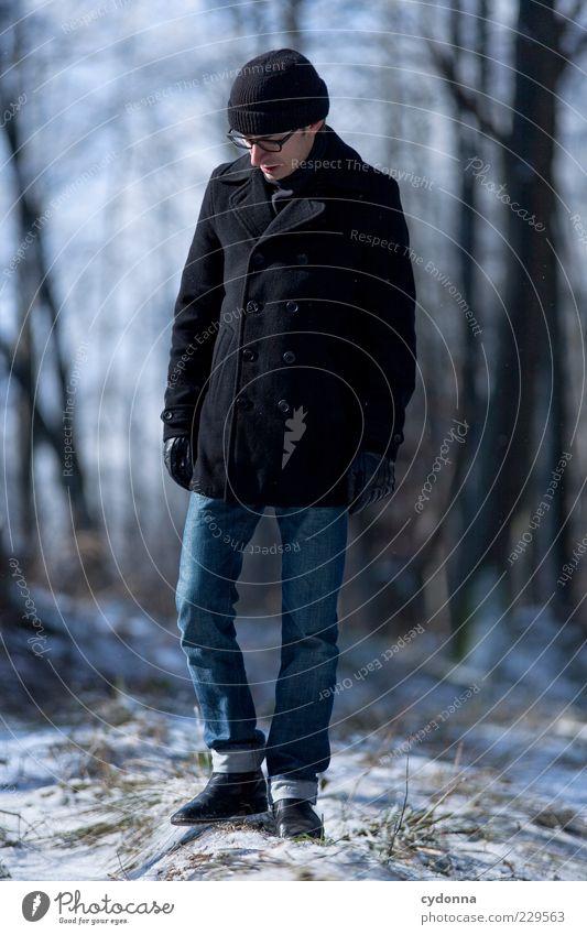 Winterspaziergang Mensch Natur Jugendliche Baum Sonne Einsamkeit ruhig Erwachsene Wald Erholung Umwelt Landschaft Leben Schnee Freiheit