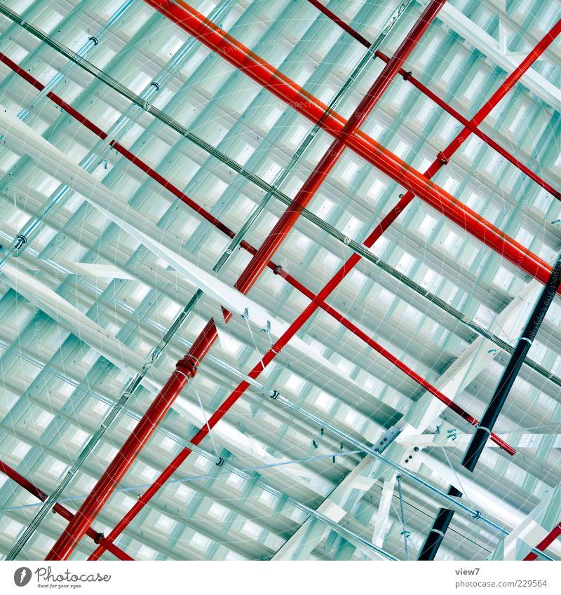 red line Mauer Wand Metall Linie Streifen ästhetisch authentisch modern oben positiv rot schön Design Leitung graphisch Hintergrundbild Wellblech Konstruktion