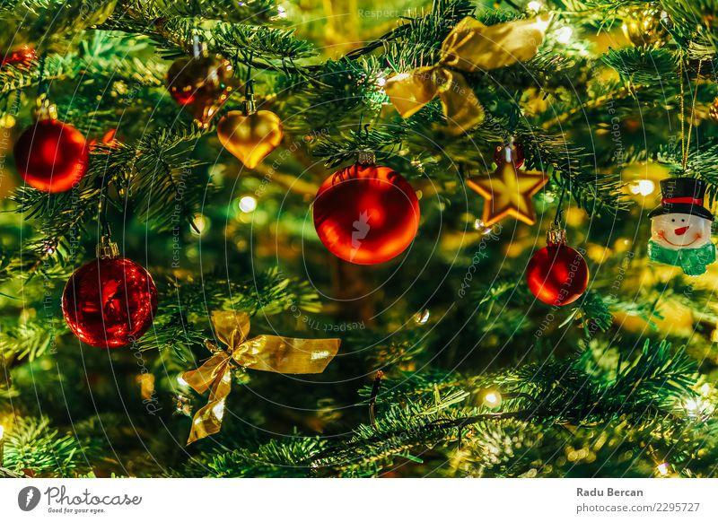 Bunte Weihnachtsbaum-Dekoration im Winter Weihnachten & Advent Farbe grün Baum rot Innenarchitektur Feste & Feiern hell Dekoration & Verzierung glänzend gold