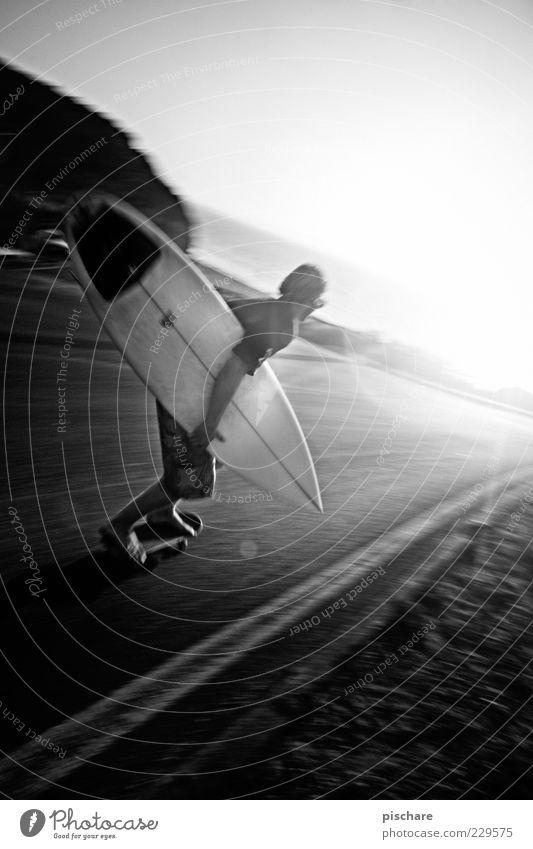 Board-Culture Lifestyle Freizeit & Hobby Sommer Sport Sportler maskulin 18-30 Jahre Jugendliche Erwachsene Wolkenloser Himmel Sonnenaufgang Sonnenuntergang
