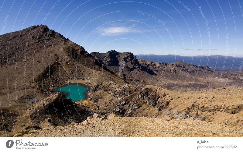 emerald lakes 2.0 Himmel Natur Wolken Ferne Landschaft Berge u. Gebirge Sand Stein Luft See Erde Felsen Urelemente Gipfel Fernweh Blauer Himmel