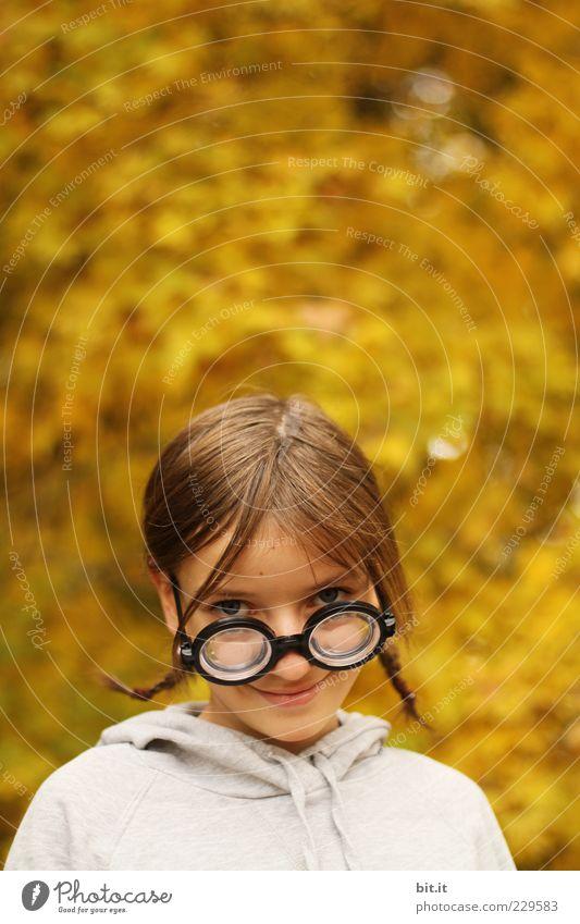 Goldkind Kind Jugendliche Mädchen Freude Gesicht Herbst Kopf lustig Kindheit lernen Fröhlichkeit niedlich einzigartig Bildung Lächeln Schüler