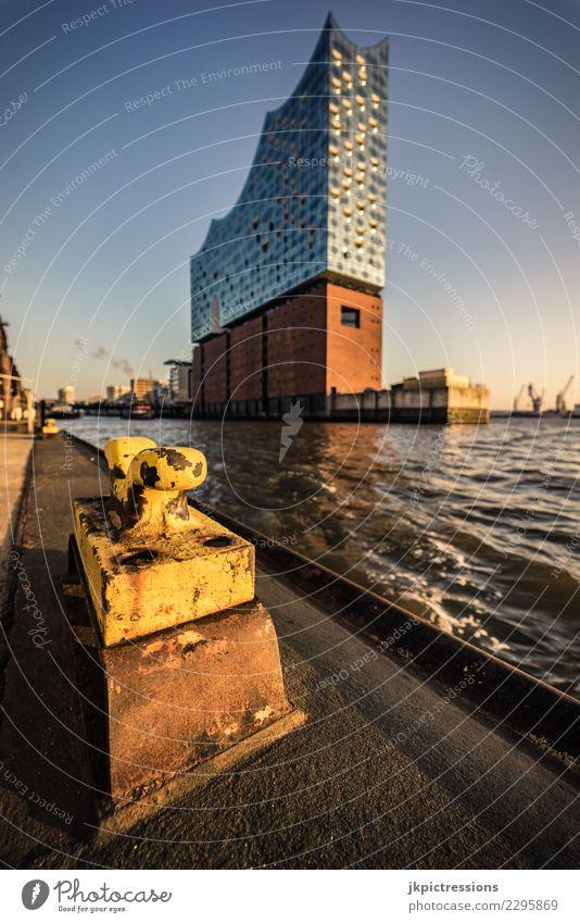Hamburg Hafen Elbphilharmonie Sonnenuntergang Europa Deutschland Elbe Stadt Wasser Kanal Himmel traumhaft schön Hafencity Brücke Steg Winter