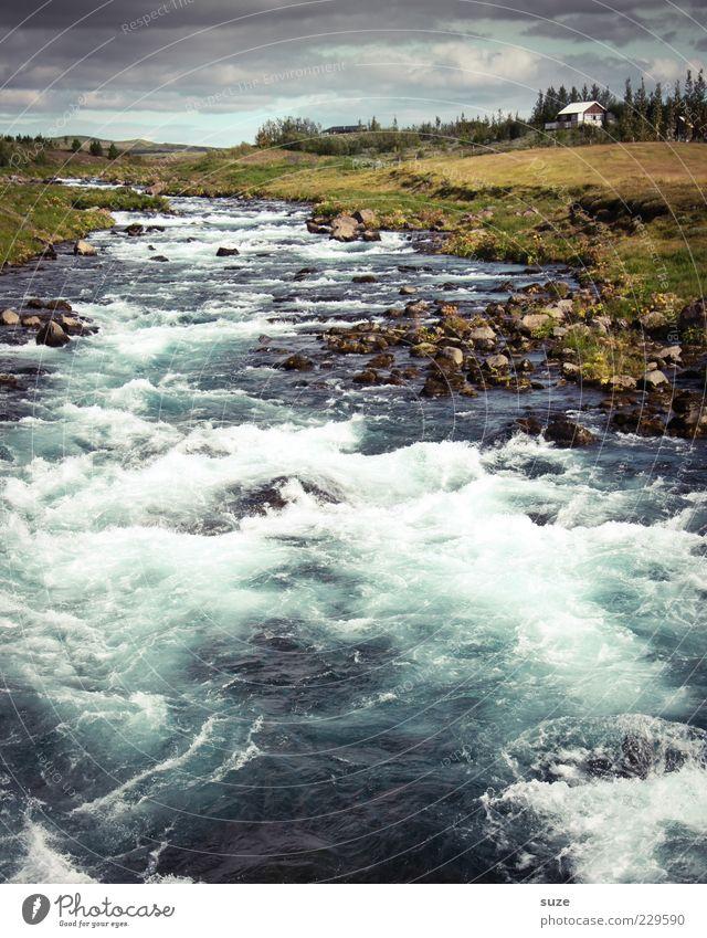 Reißender Fluss Himmel Natur Wasser Wolken Landschaft Haus Ferne Umwelt Stein außergewöhnlich Wellen wild groß Urelemente Fluss fantastisch