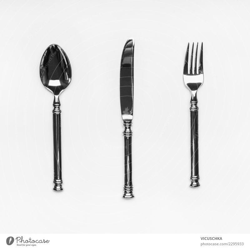 Besteck Ernährung Festessen Messer Gabel Löffel Stil Design Party Veranstaltung Restaurant Dinge Symbole & Metaphern Vor hellem Hintergrund Sammlung Farbfoto
