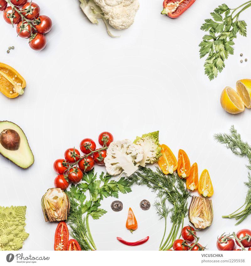 Gesundes Essen mit frischem Gemüse Mensch Gesunde Ernährung Foodfotografie Gesicht Gesundheit Hintergrundbild Stil Lebensmittel Design Lächeln Geschwindigkeit