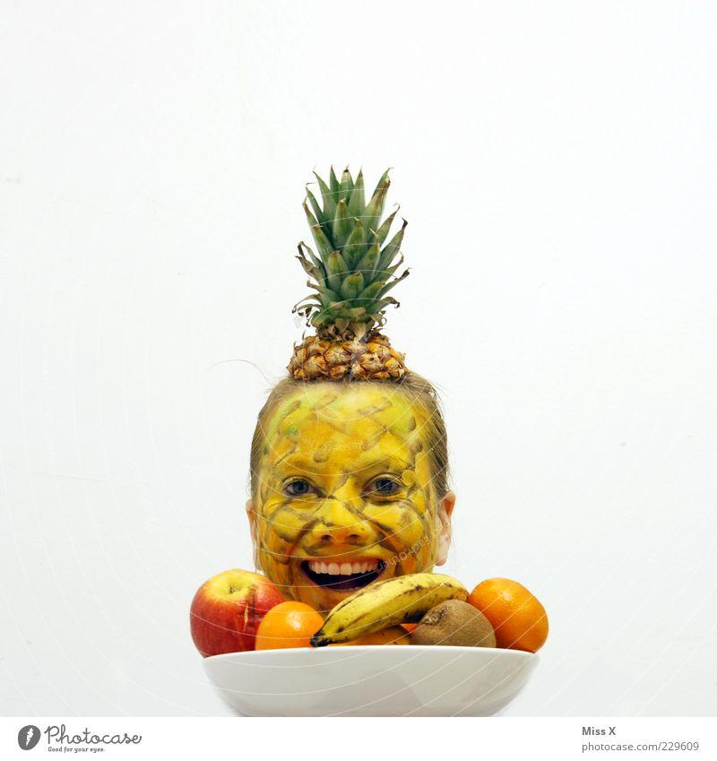 Happynas Mensch Frau Jugendliche Junge Frau Erwachsene Gesicht 18-30 Jahre lachen lustig Kopf außergewöhnlich Lebensmittel Frucht verrückt Ernährung süß