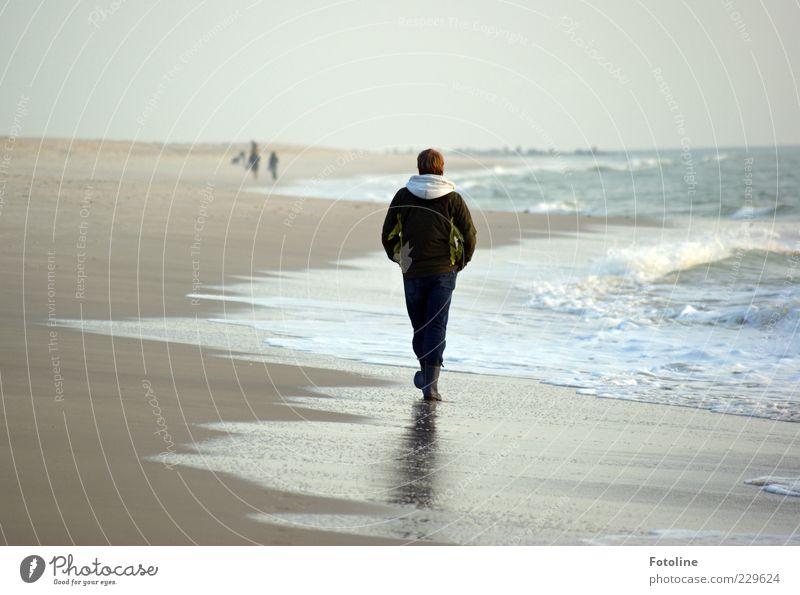 Strandläufer Mensch maskulin Junger Mann Jugendliche Erwachsene Haare & Frisuren Rücken Beine 1 Umwelt Natur Landschaft Himmel Wolkenloser Himmel Herbst Wellen