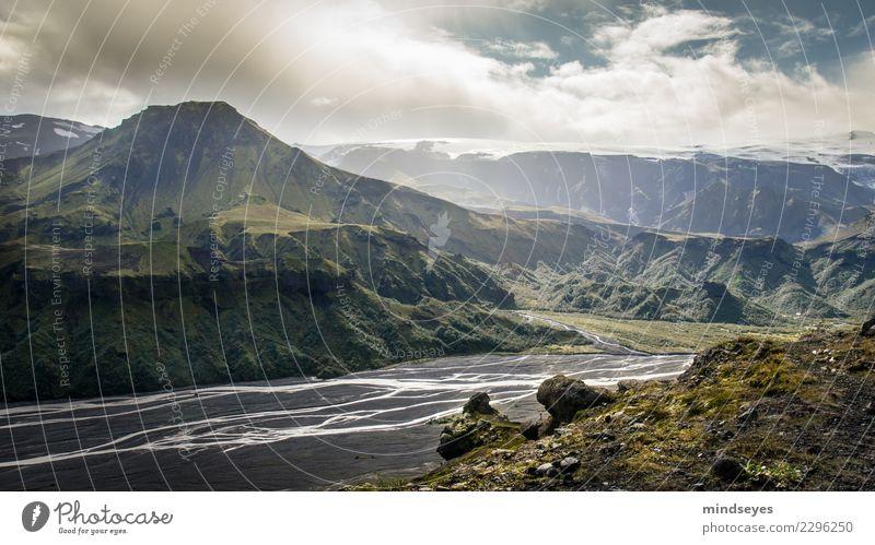 Das Land der Götter Himmel Natur Ferien & Urlaub & Reisen grün Landschaft Sonne Wolken ruhig Ferne Berge u. Gebirge Wege & Pfade Felsen leuchten wandern Erde