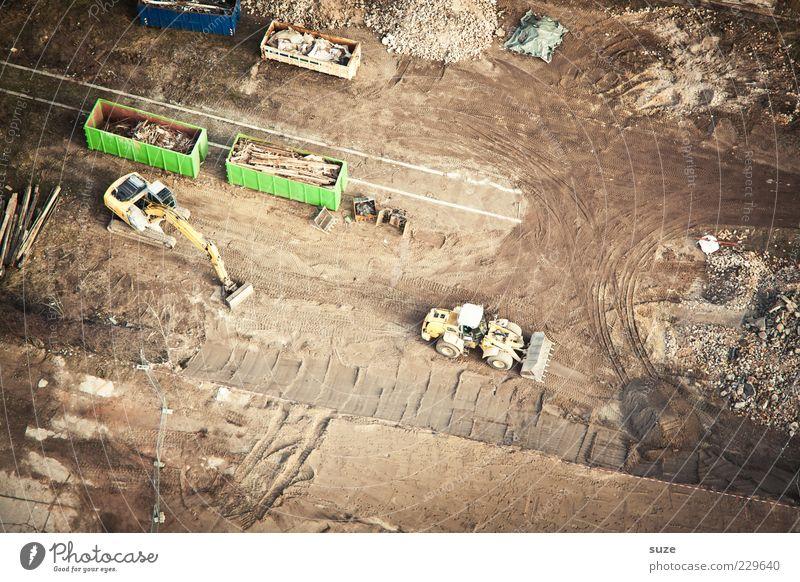 Baustelle Sand braun Erde Ordnung Boden Bodenbelag Material Luftaufnahme bauen Container Bagger Reifenspuren Schrott Bauschutt Freiraum
