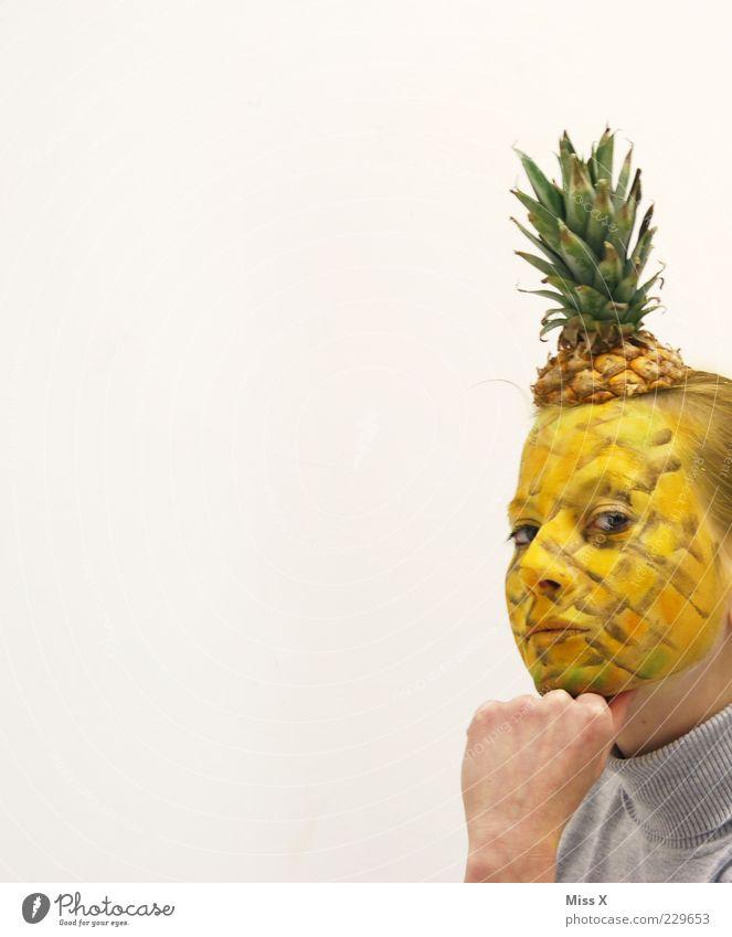 Denker-Nas Mensch Jugendliche Erwachsene Gesicht Ernährung Kopf Lebensmittel lustig Frucht süß Maske 18-30 Jahre Karneval Idee Karnevalskostüm Kunst