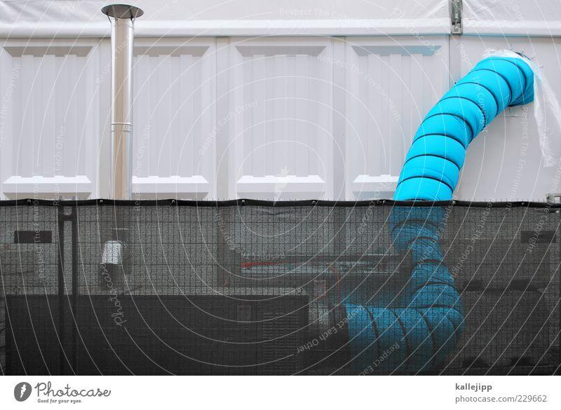 dickdarm blau weiß Fassade Energiewirtschaft Klima Industrie Technik & Technologie Zaun Röhren Halle Schlauch Rohrleitung Lüftung Klimaanlage Abluft